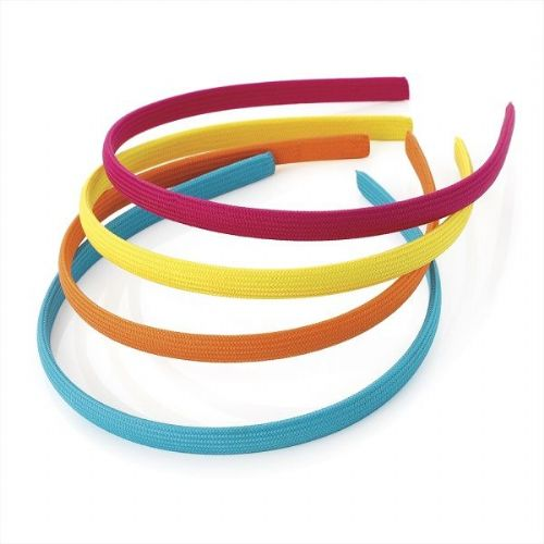 Coloured Fabric Covered Alice Hair Bands -Set of 4
